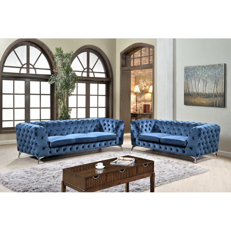 Mercer41 Khan 2 Piece Chesterfield Living Room Set Wayfair