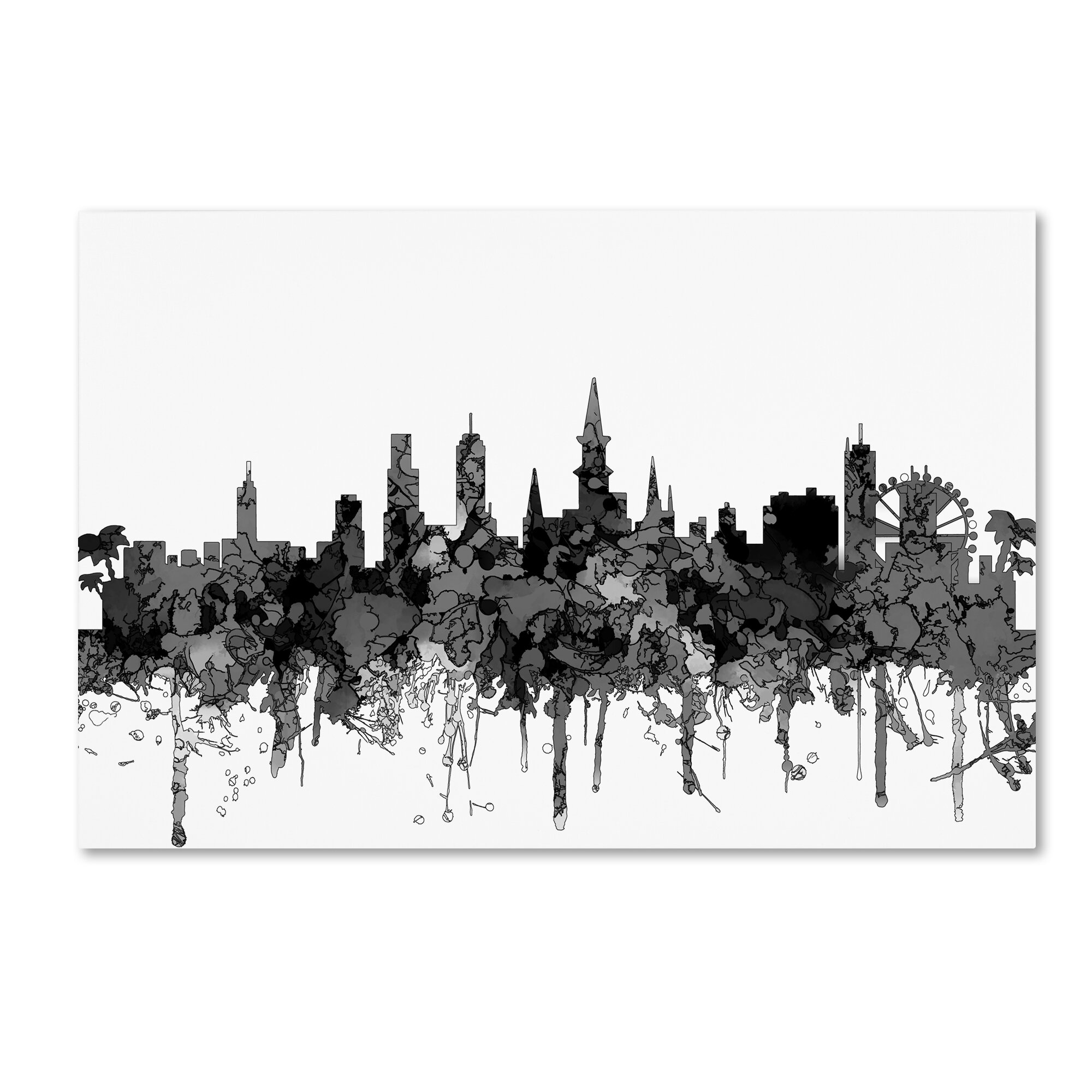 Trademark Art New Orleans Louisiana Skyline Bw Wred Canvas Wayfair