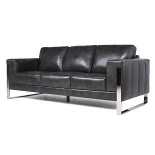 Modern & Contemporary Leather Sofa With Chrome Legs | AllModern