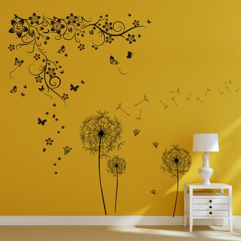 Walplus New Huge Butterfly Vine and Dandelion Wall Decal & Reviews ...