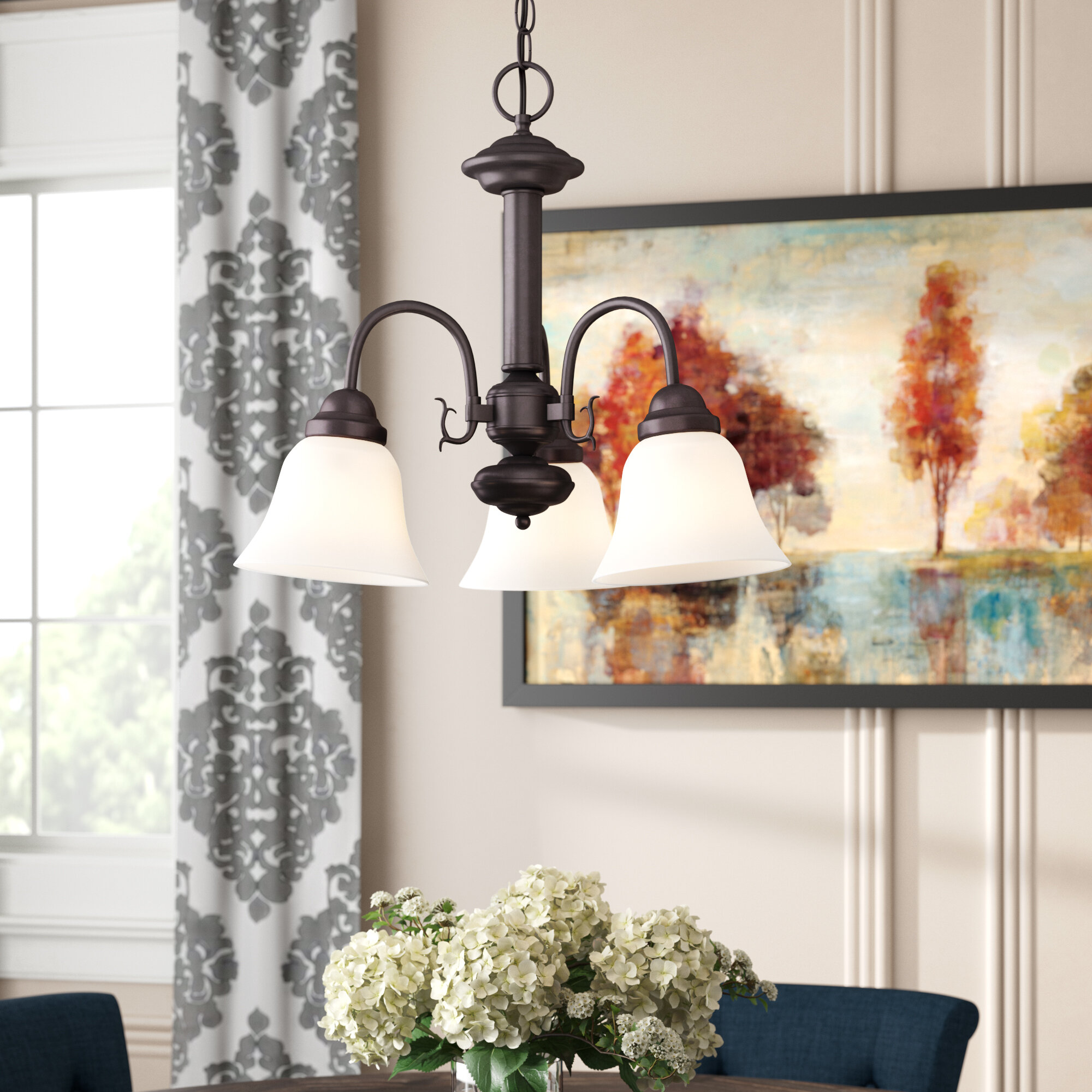 Charlton home turcotte 3 light shaded chandelier wayfair