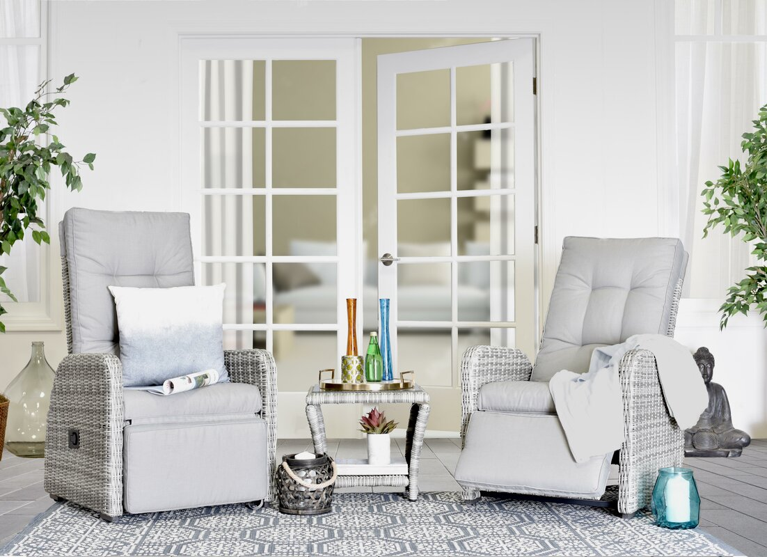Elle Decor Vallauris 3 Piece Conversation Set with Cushions ...
