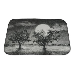 Landscapes Night Scene, 2 Trees are Lit by Moonlight Art Bath Rug