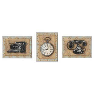 home office wall art. Stopwatch, Typewriter, And Rotary Phone Retro Home Office 3 Piece Graphic Art Wall Plaque Set