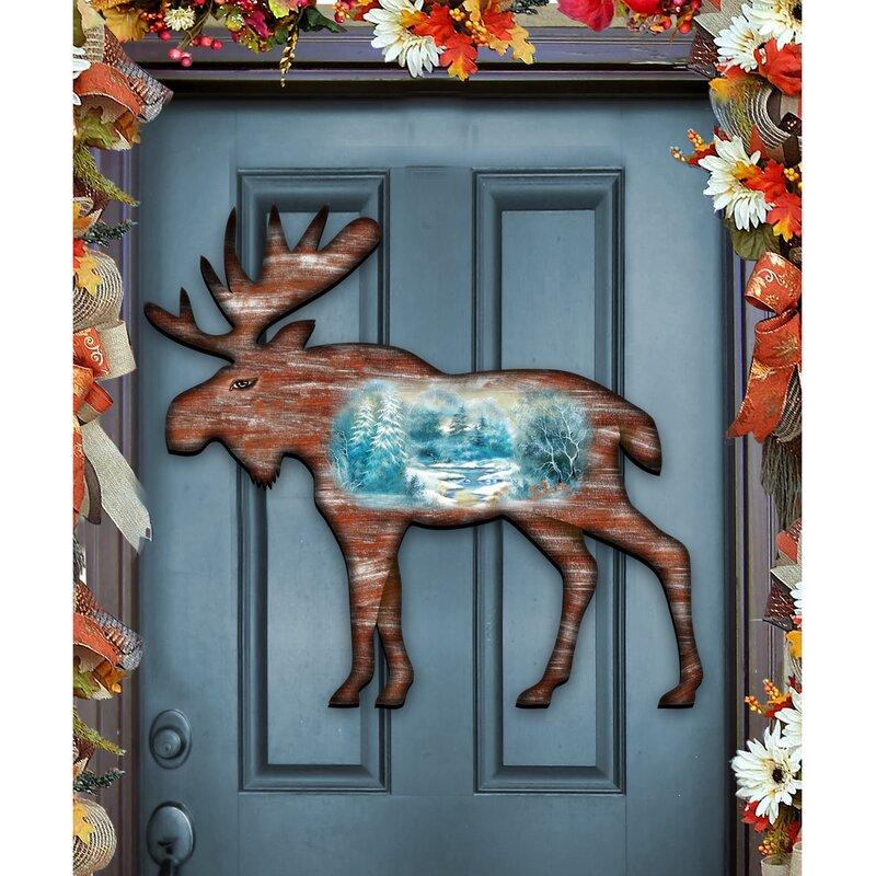 designocracy elk scenic woodsy river landscape wooden door hanger