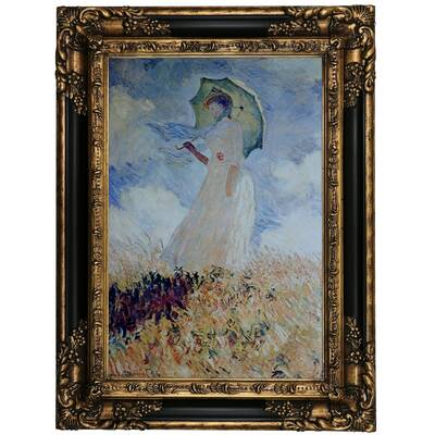 Astoria Grand Lady With Umbrella By Claude Monet Framed Oil