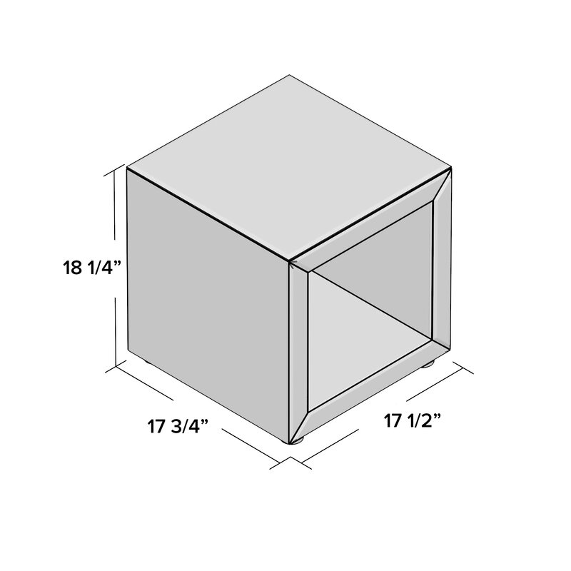 Mercer Seraphin Mirrored Cube End Table Wayfair - Mirrored cube end table