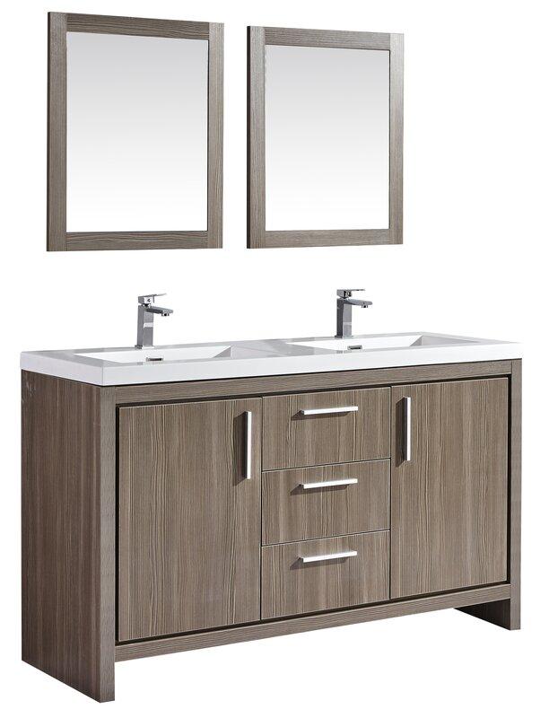 "Modern Bathroom Vanities North Hollywood mtdvanities miami 59"" double sink modern bathroom vanity set with"