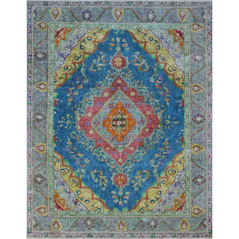 885f4fccf4 One-of-a-Kind Burdekin Vintage Distressed Overdyed Hand Knotted Wool Blue  Area Rug | AllModern