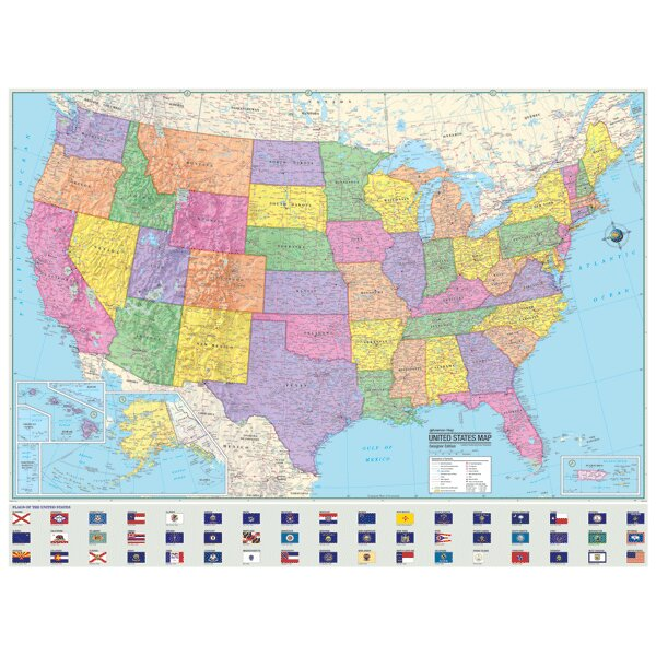 Universal Map Advanced Political United States Laminated Rolled - Political us map