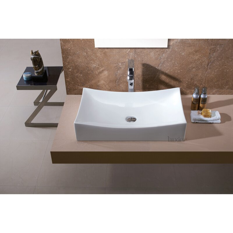 Bathroom Sinks Porcelain luxier l-001 bathroom porcelain ceramic rectangular vessel