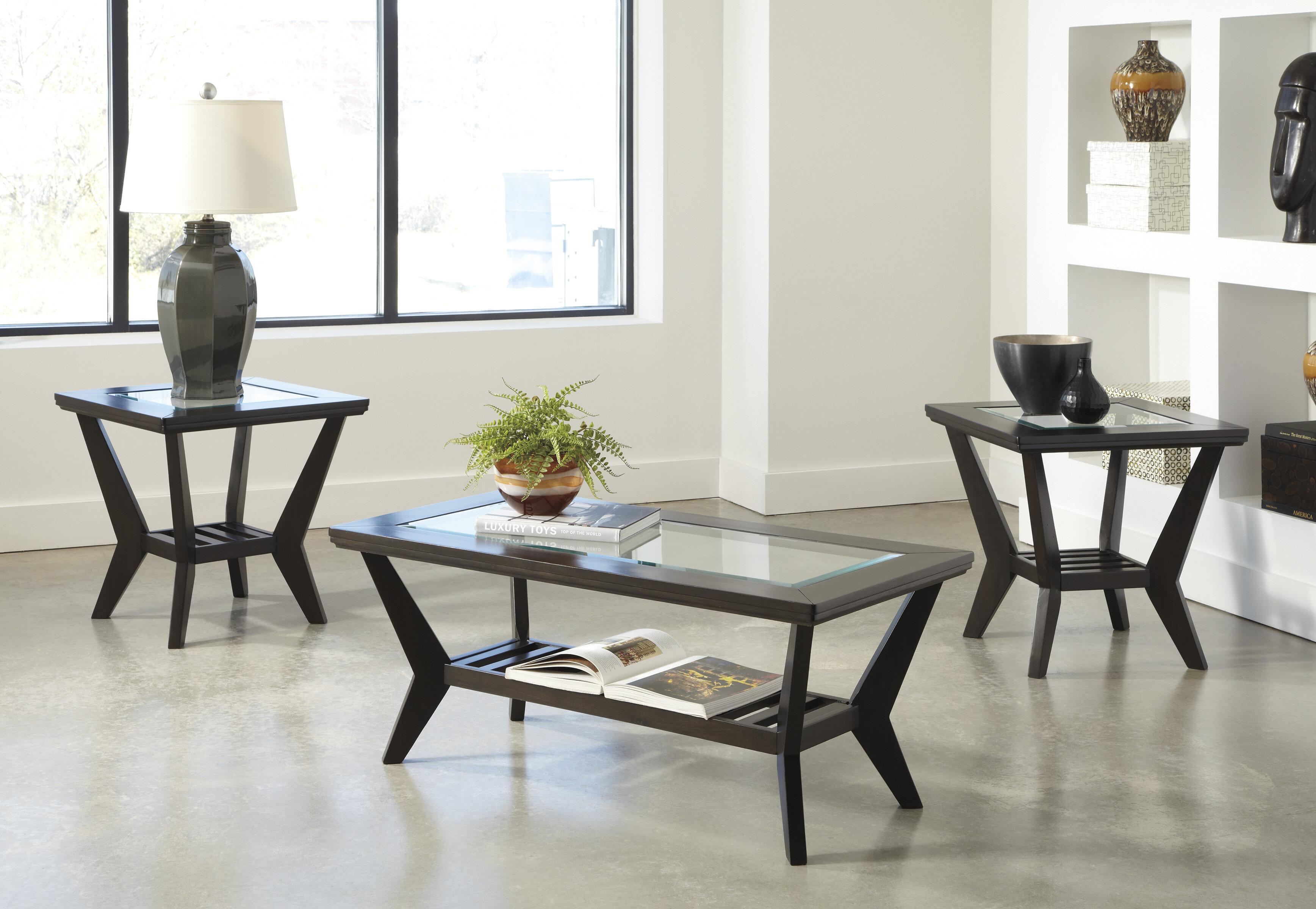 Latitude Run Woodrow 3 Piece Coffee Table Set in Brown & Reviews