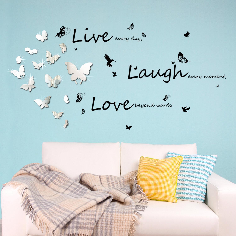 Walplus Mirror Butterflies And Vivid Live Laugh Love Wall Decal