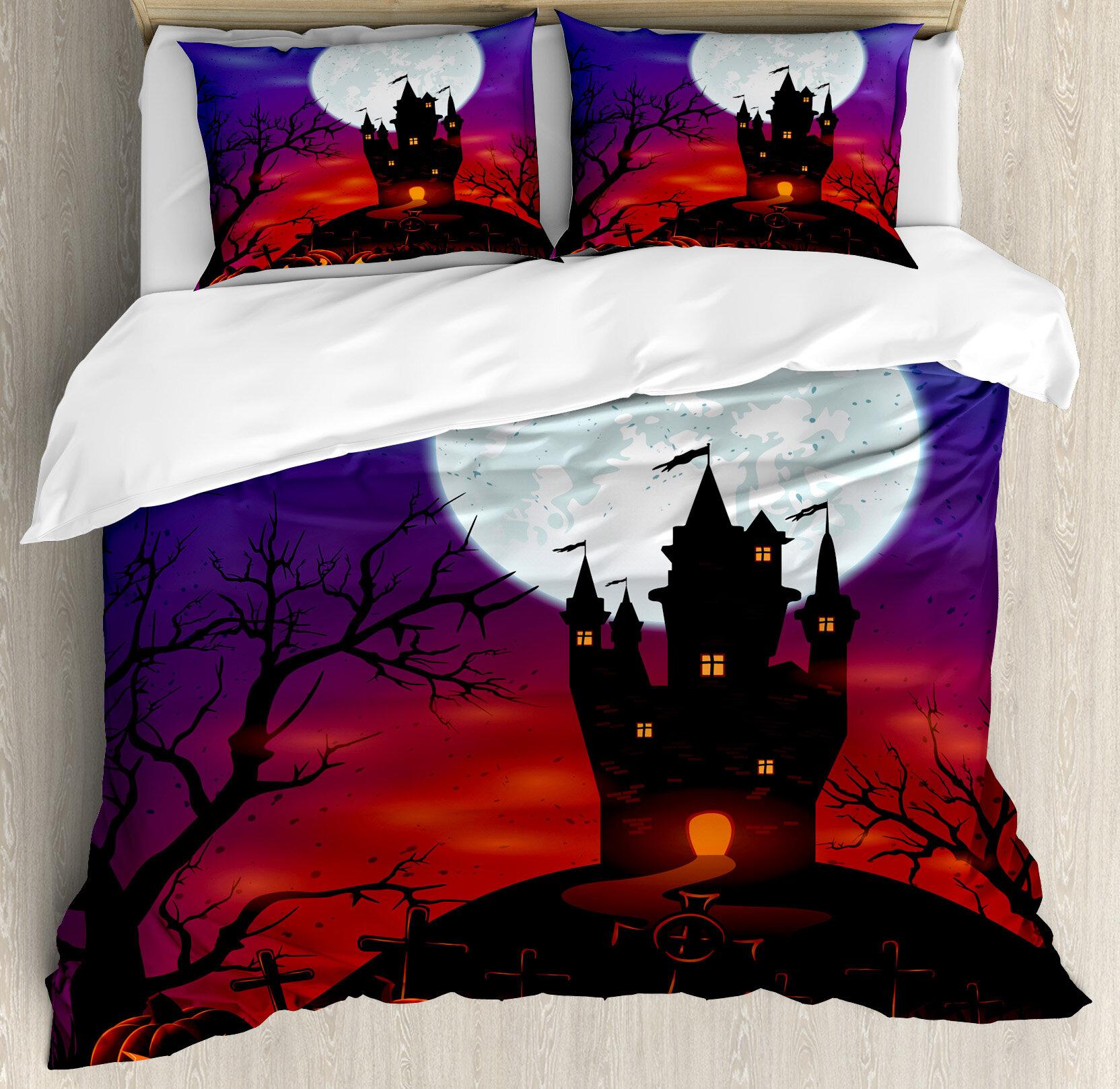ambesonne halloween gothic haunted house castle hill valley night sky october festival theme duvet set wayfair
