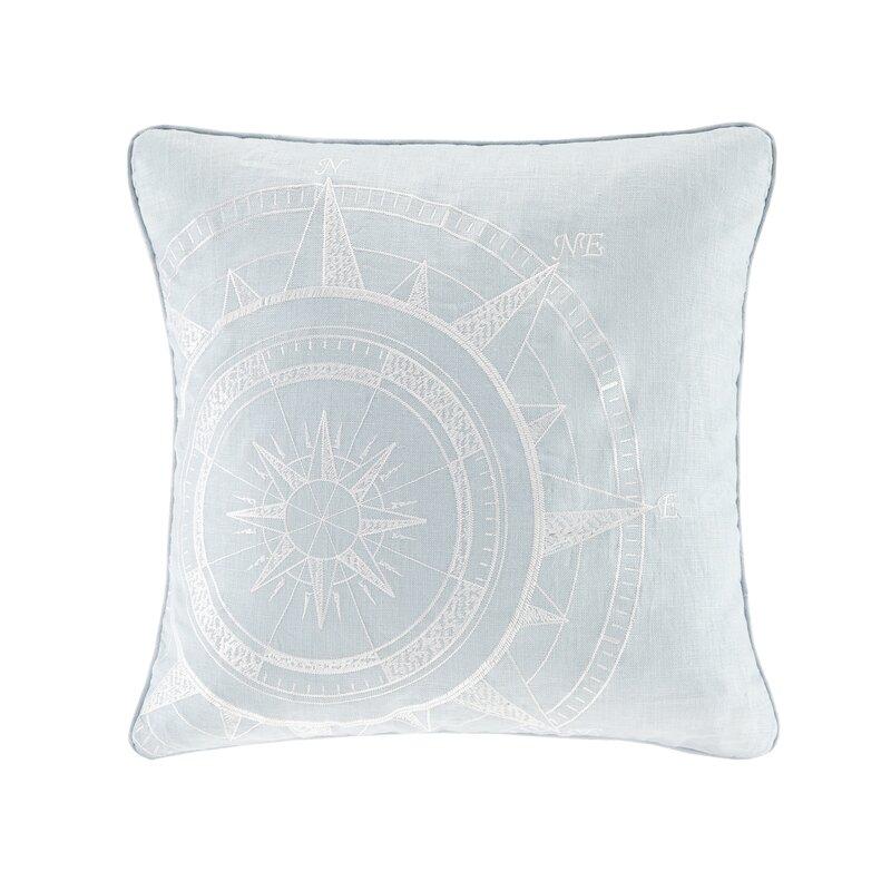 Linen Monogram Throw Pillow: Steer Compass Linen Embroidery Throw Pillow & Reviews
