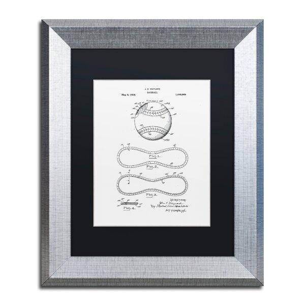 Trademark Art \'Baseball Patent 1928 White\' Framed Graphic Art Print ...