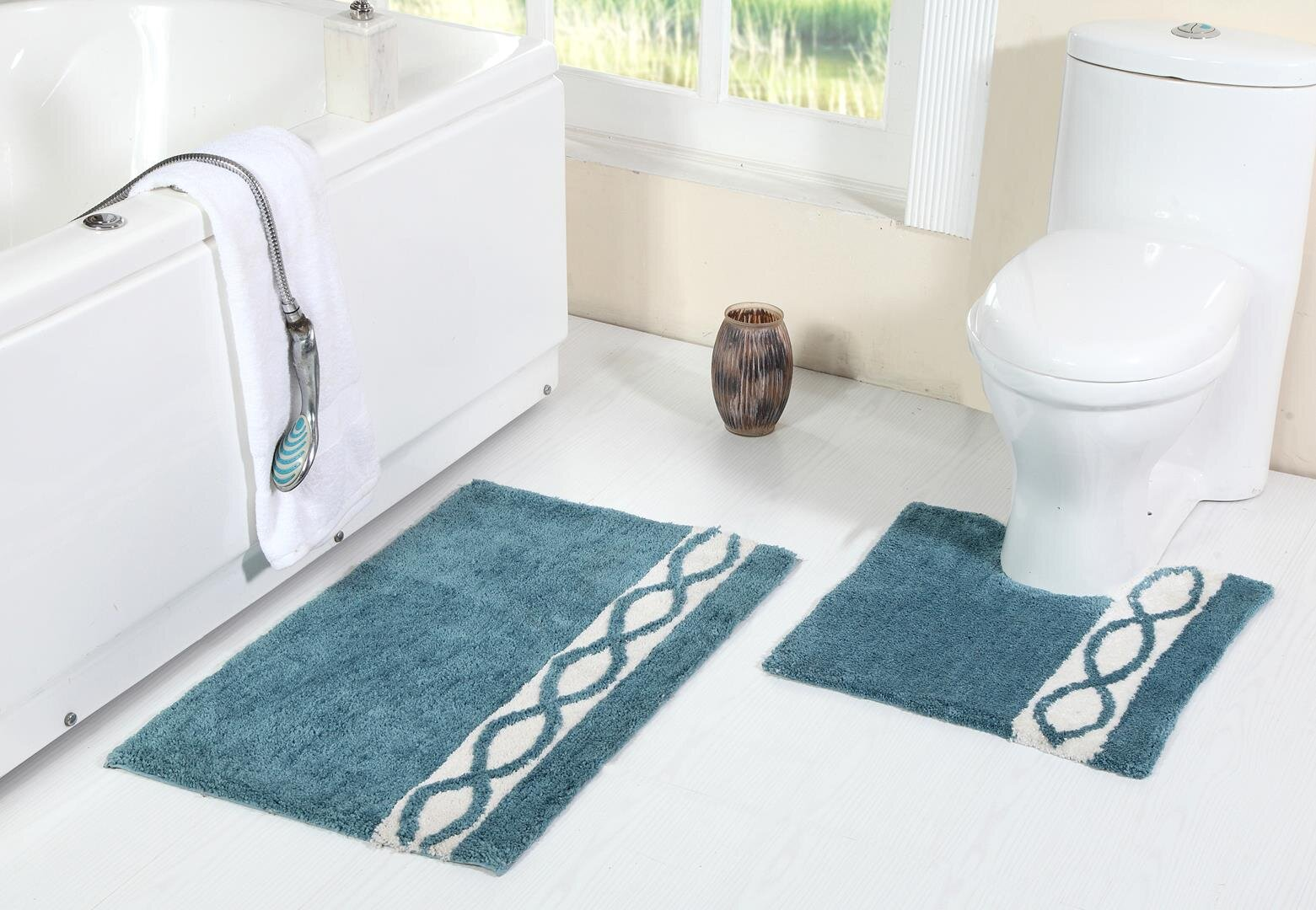Breakwater Bay Yair Pedestal 2 Piece Designer Plush Wave Bath Rug ...