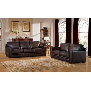 World Menagerie Mcdonald Leather 2 Piece Living Room Set Image