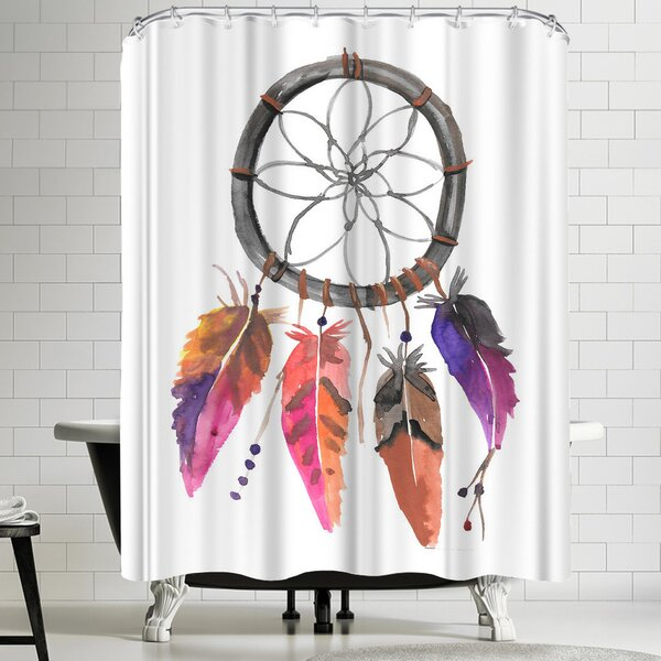 East Urban Home Jetty Printables Pink Watercolor Dream Catcher Shower Curtain Reviews