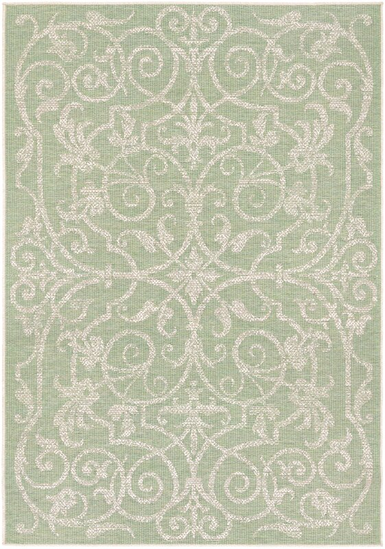 One Allium Way Arnegard Ivory/Light Green Indoor/Outdoor Area Rug ...
