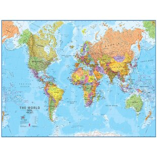 world mega map 120 laminated wall map
