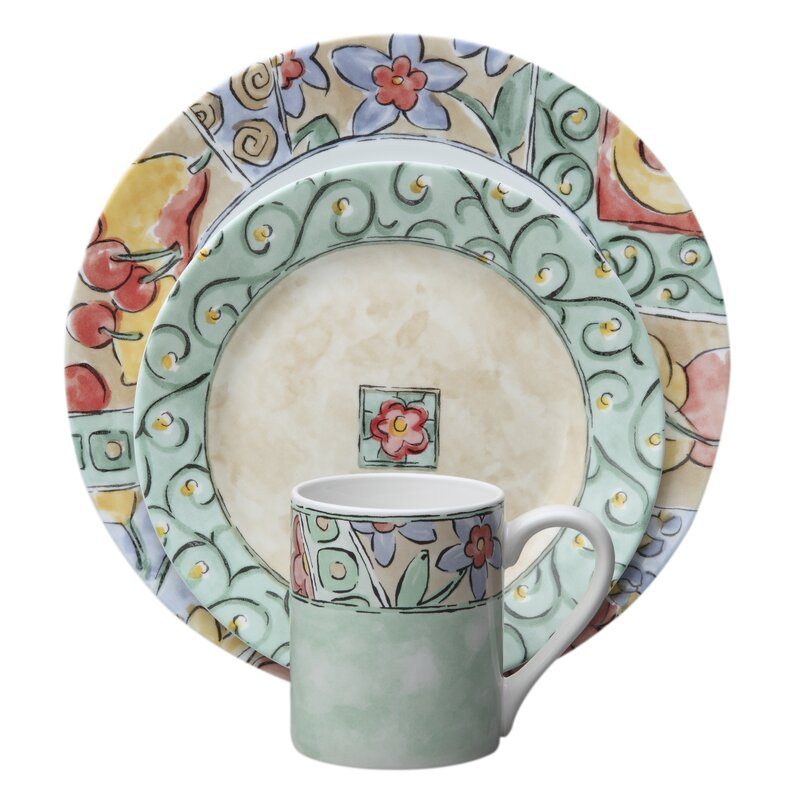 Impressions Watercolors 16 Piece Dinnerware Set Service for 4  sc 1 st  Wayfair : dinnerware plate sets - pezcame.com