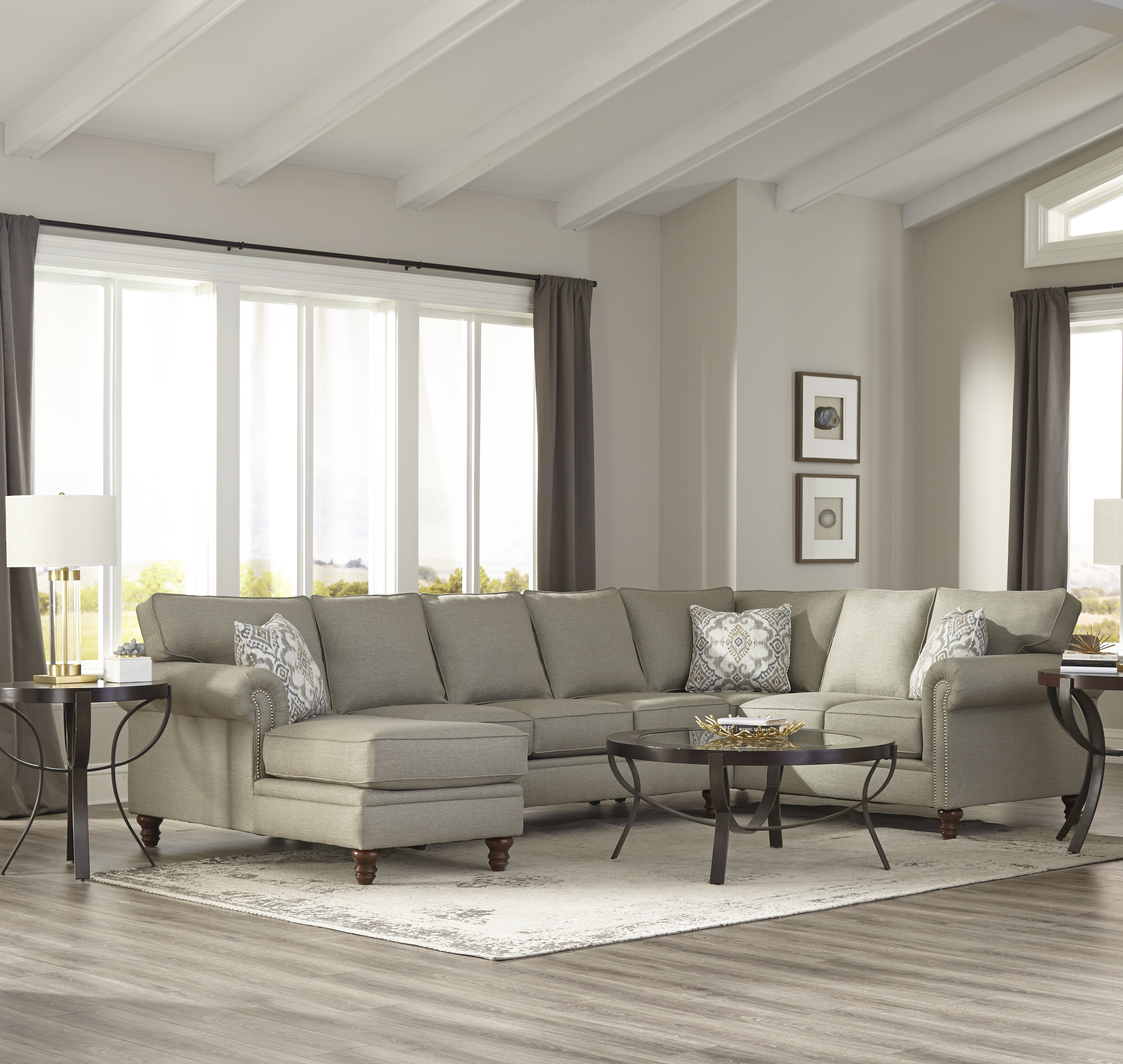 Darby Home Co Crothersville Ushaped Sectional Wayfair - Coffee table for u shaped sectional