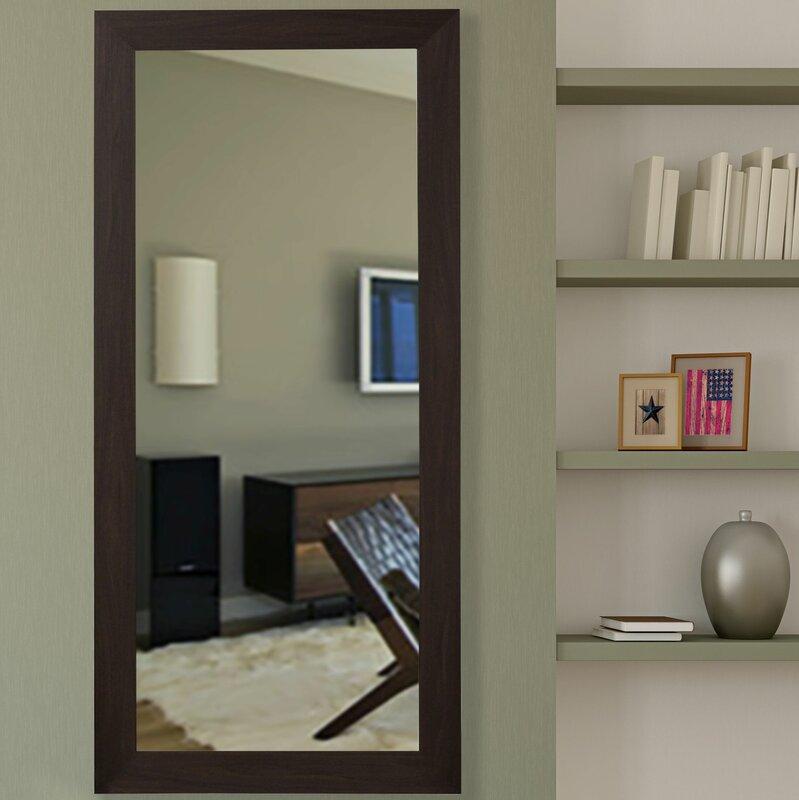 Latitude Run Handcrafted Rectangle Black Walnut Floor Mirror ...