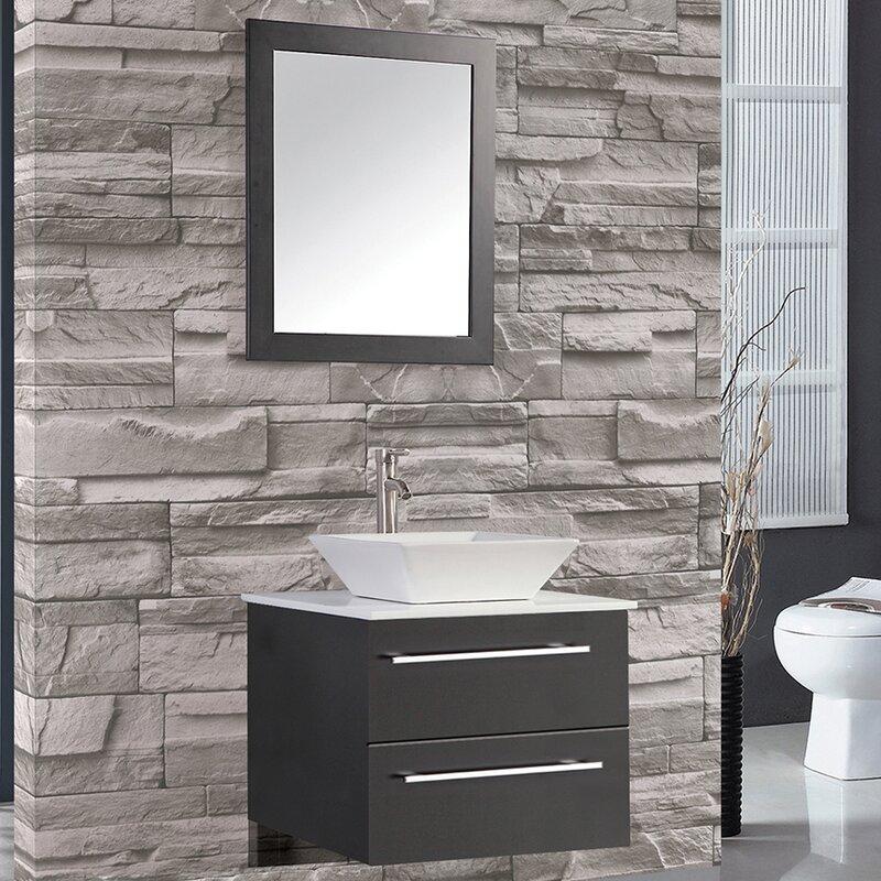 Bosarge 24 Single Sink Wall Mounted Bathroom Vanity Set With Mirror