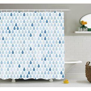 Rain Drops Motive Decor Shower Curtain