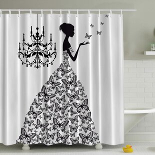Rowena Madame Butterfly Print Single Shower Curtain