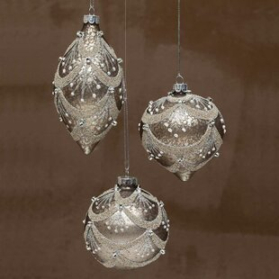 champagne glass chandelier ball ornament set of 3 - Glass Christmas Ornaments