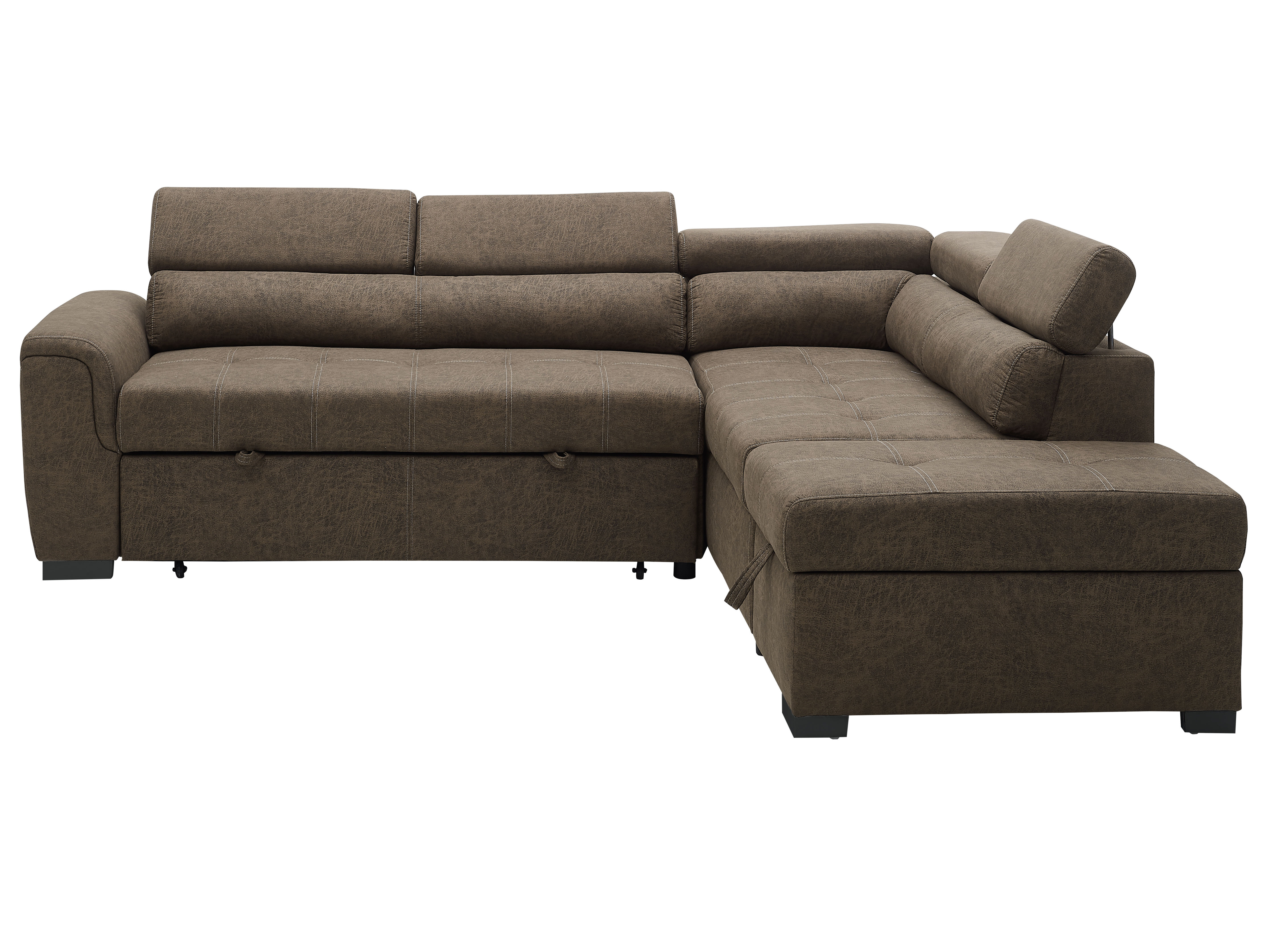 Kegan Leather Right Hand Facing Sleeper Sectional With Storage Ottoman