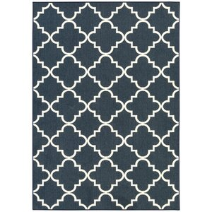 Hanley Navy Blue/White Area Rug