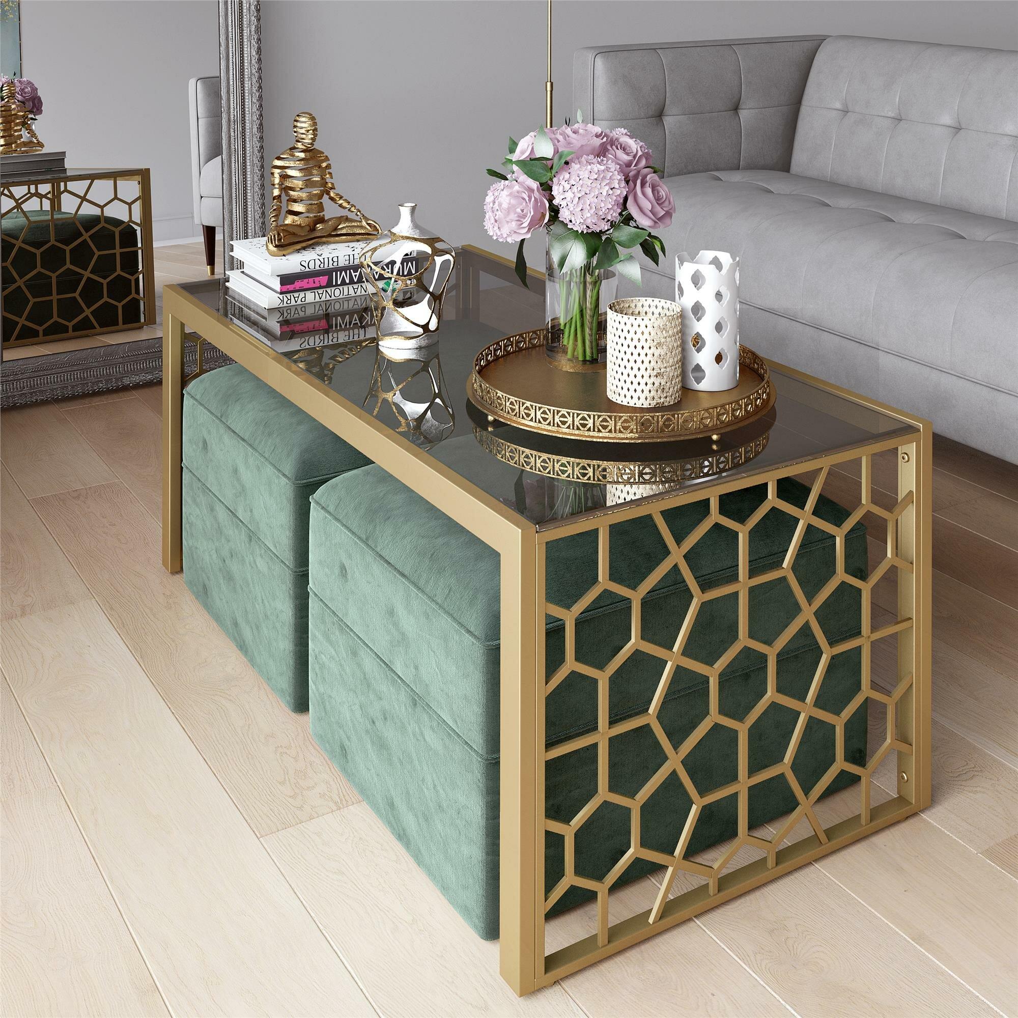 Cosmoliving By Cosmopolitan Juliette Glass Top Coffee Table