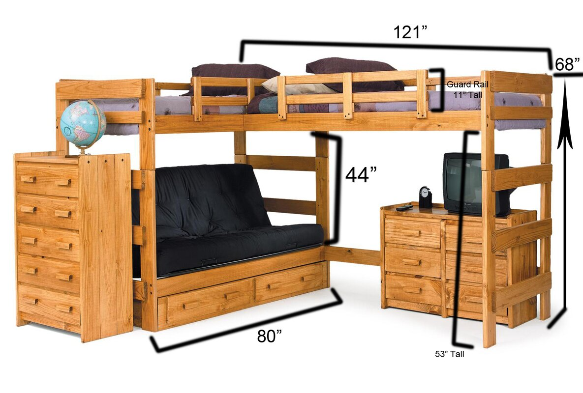 chelsea home twin over full l shaped bunk bed reviews. Black Bedroom Furniture Sets. Home Design Ideas