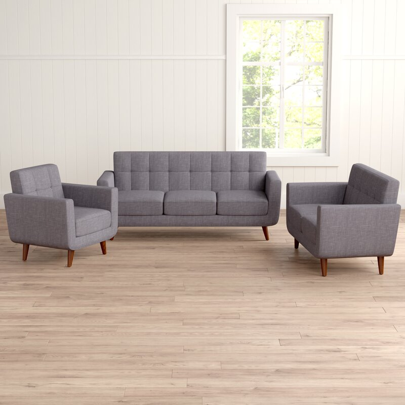 Langley Street Nilson 3 Piece Living Room Set & Reviews | Wayfair