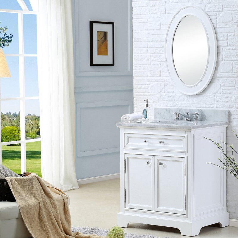 "Colchester 24"" Single Sink Bathroom Vanity Set with Mirror - White"
