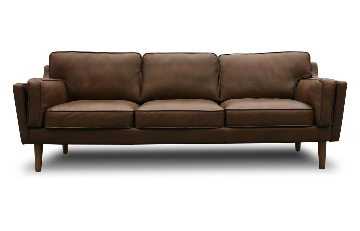 Union rustic kaufman mid century modern leather sofa for Mid century modern sofas