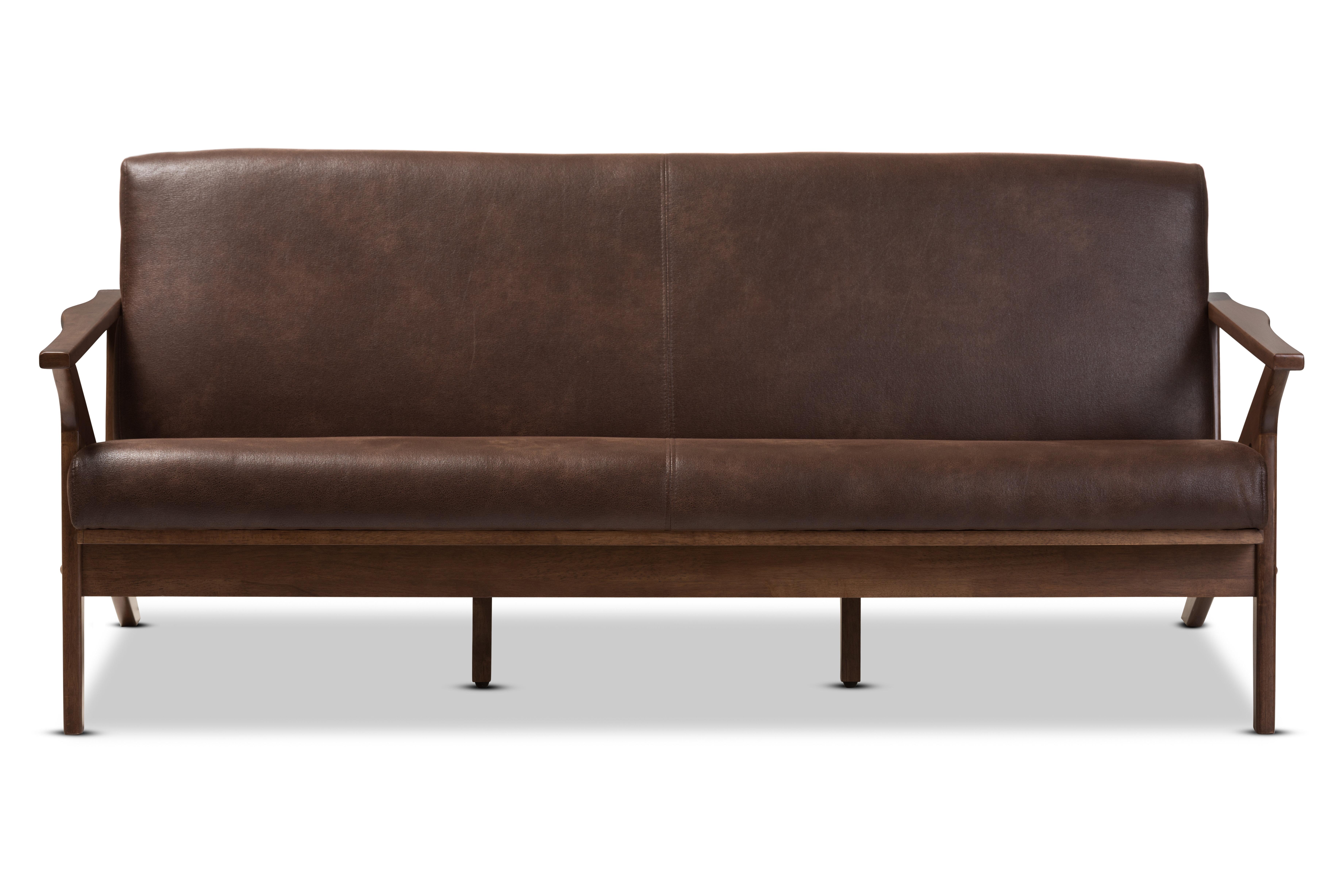 Arick Mid Century Faux Leather Modern Sofa Reviews Allmodern