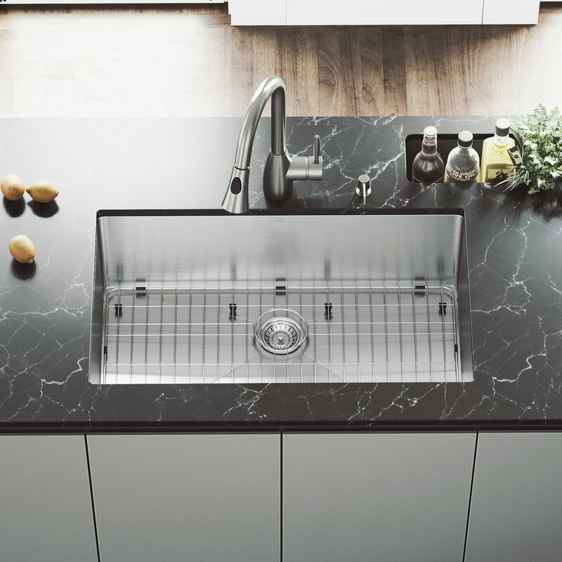 32 inch Undermount Single Bowl 16 Gauge Stainless Steel Kitchen Sink with Aylesbury Stainless Steel Faucet, Grid, Strainer and Soap Dispenser