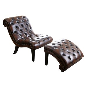 aubrie leather chaise lounge and ottoman