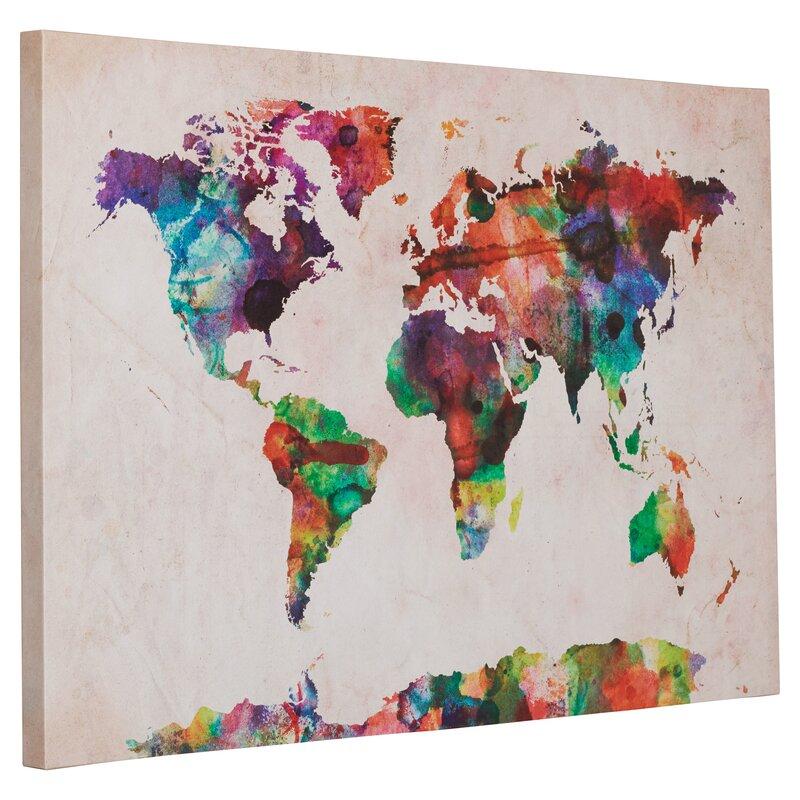 Mistana multicoloured world map framed on beige canvas reviews multicoloured world map framed on beige canvas gumiabroncs Choice Image