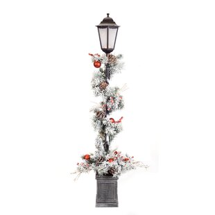 ebony pine potted 60 lamp post - Light Post Christmas Decorations