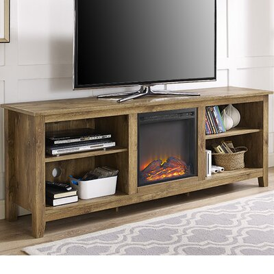 Beachcrest Home Sunbury TV Stand for TVs up to 70 with optional Fireplace Color: Barnwood, Fireplace Included: Yes