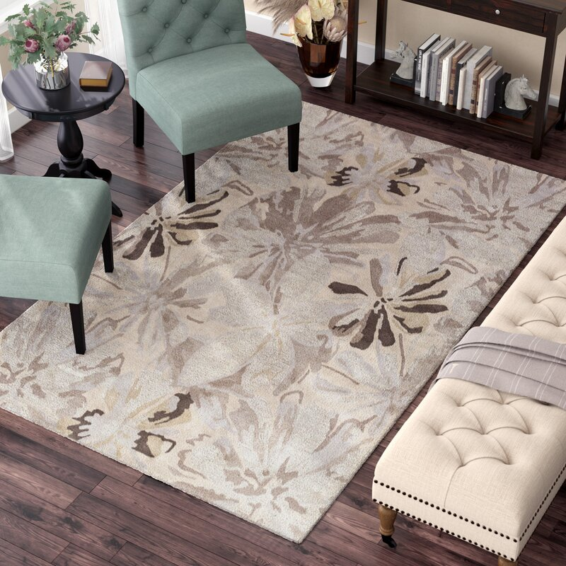 Alcott Hill Amice Hand-Tufted Wool Beige/Gray Area Rug, Size: Square 6