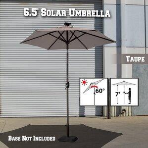 Larissa Solar Light Patio Umbrella Tilt Aluminum Garden Market Umbrella