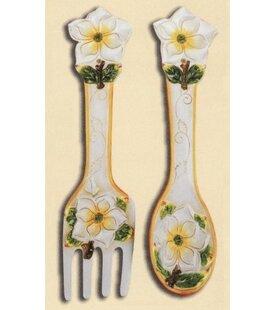 2 Piece Gardenia Spoon And Fork Wall Decor Set