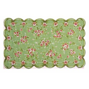 Hand-Hooked Green/Pink Area Rug