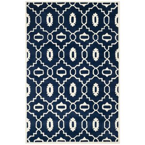 Wilkin Moroccan Hand-Tufted Wool Dark Blue/Ivory Area Rug